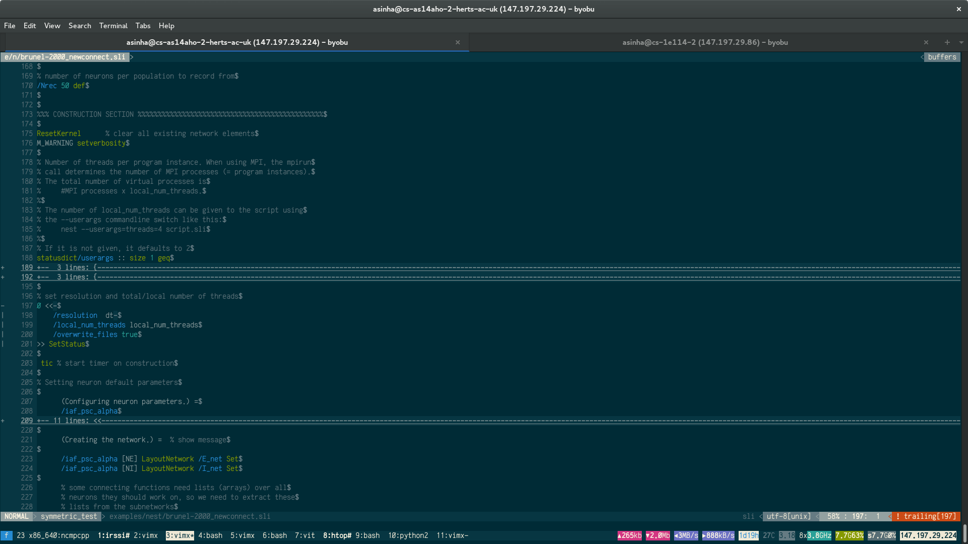 Screenshot showing SLI syntax highlighting in Vim