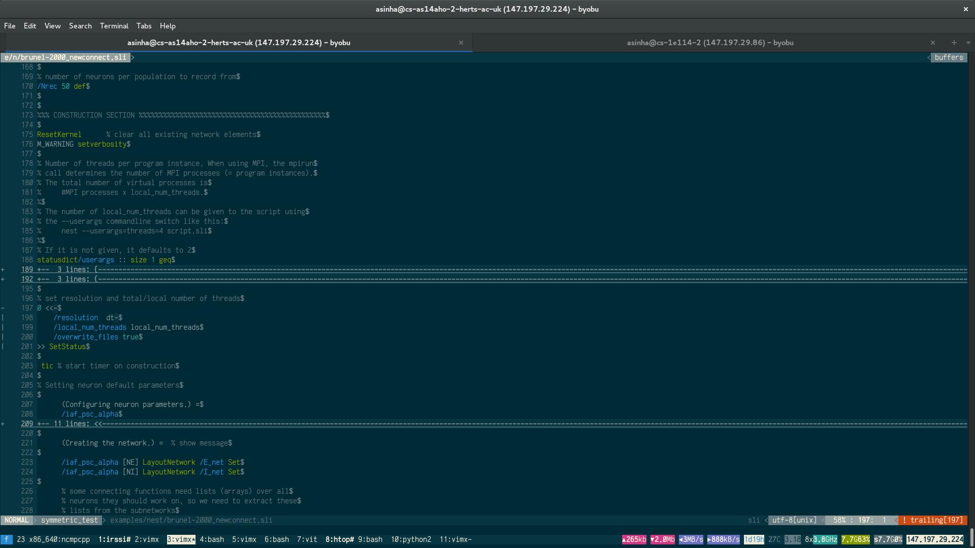 Screenshot showing SLI syntax highlighting in Vim