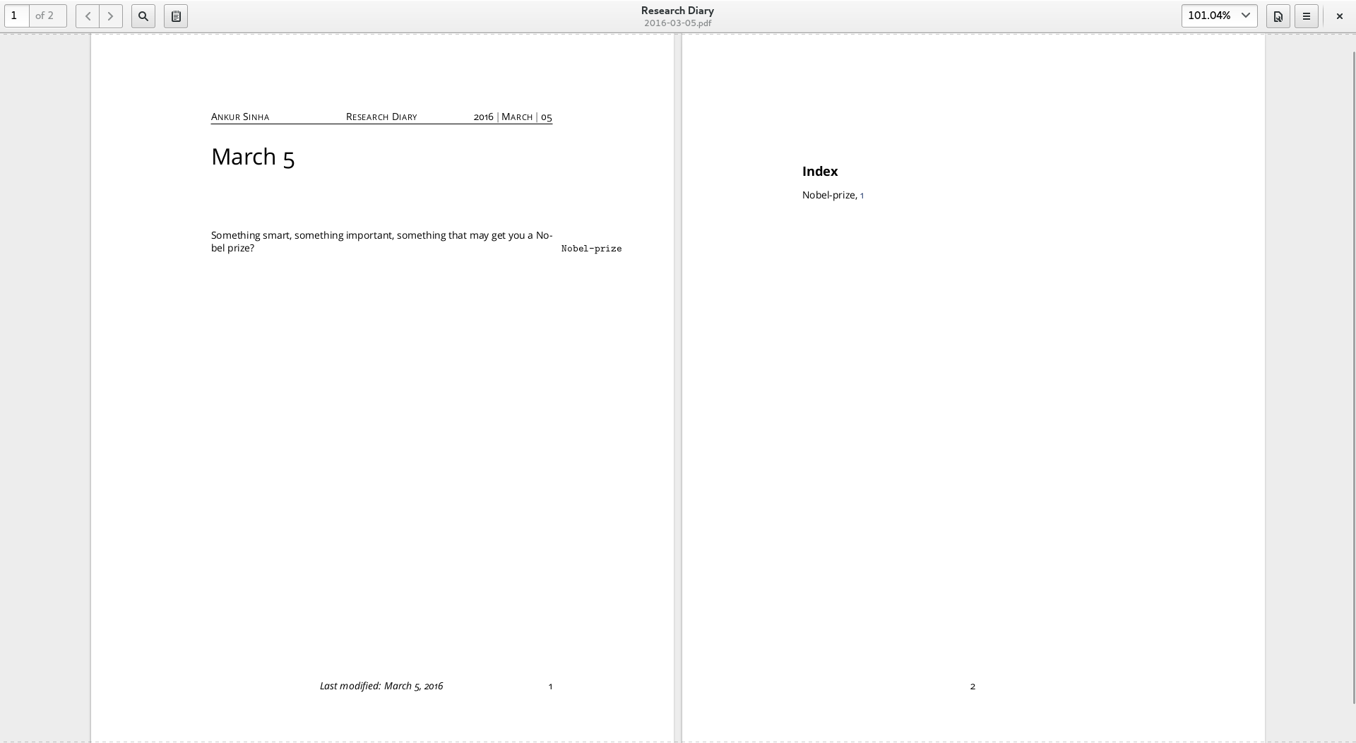 Screenshot showing pdf generated by Calliope