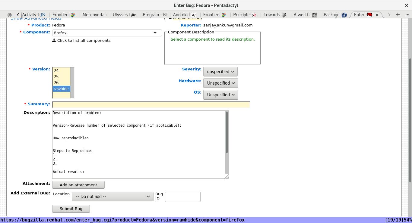 An empty bug report form on Bugzilla