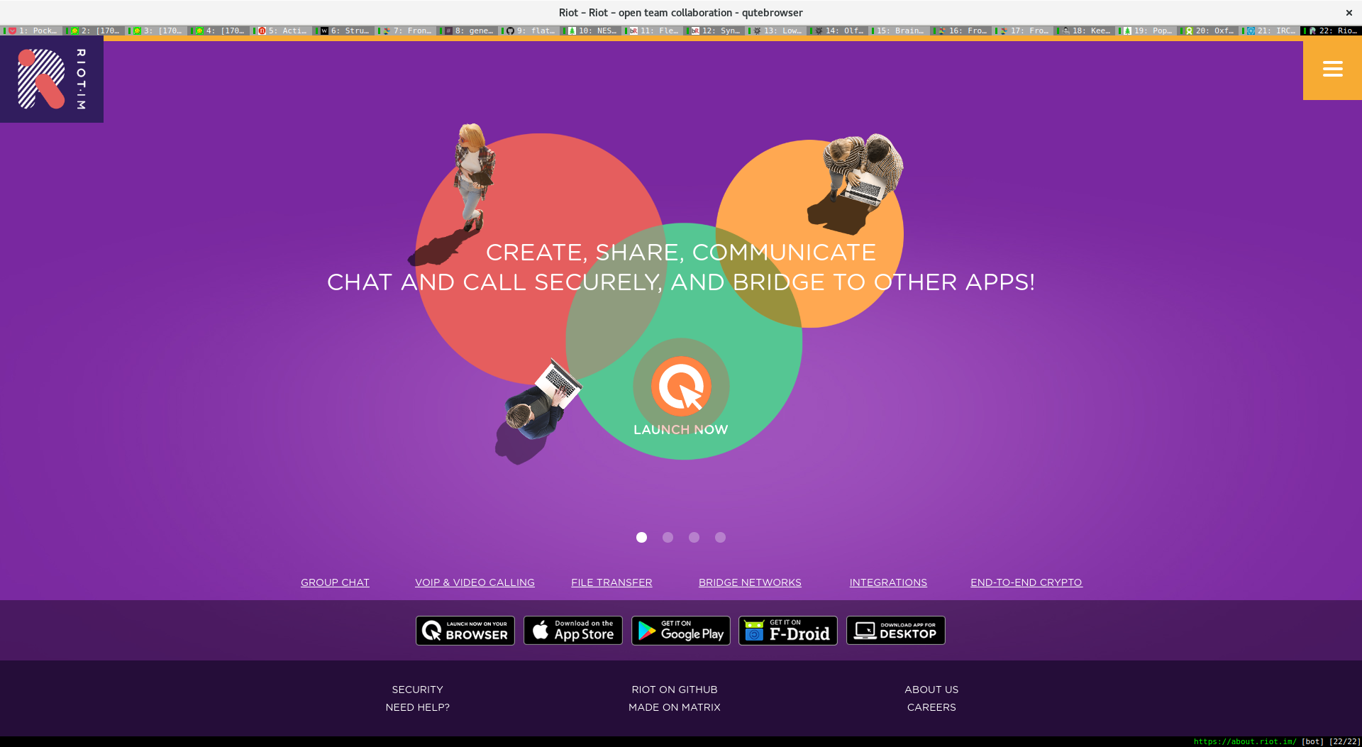 Using riot to access IRC, Slack, and Gitter