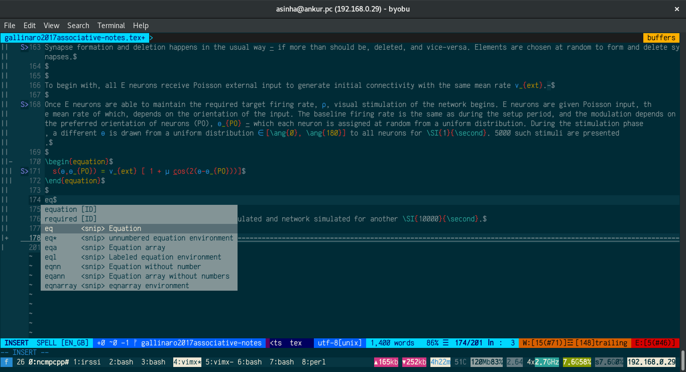 Screenshot of Vim with a LaTeX file open showing various features.