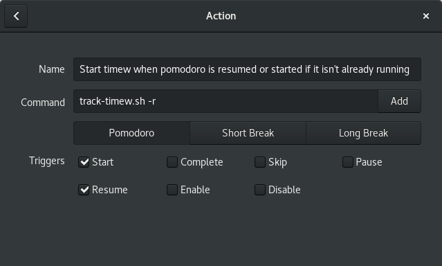A screenshot showing custom action that will resume timew after a break.