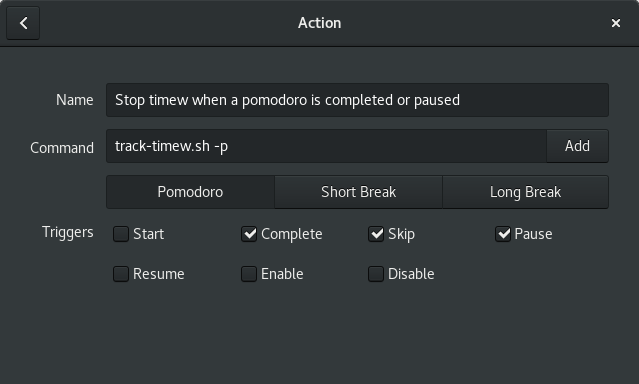 A screenshot showing custom action that will stop timew at the start of a break.