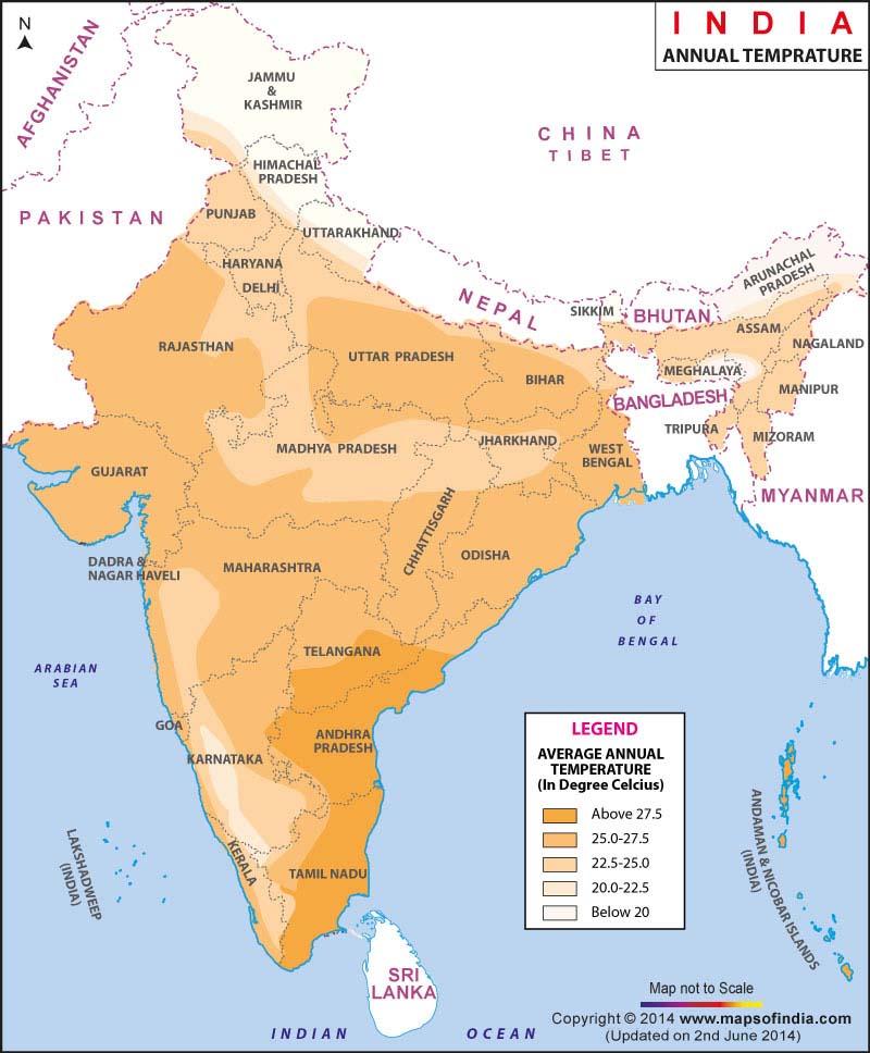 India average annual temperature map